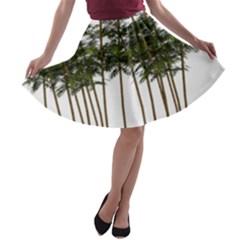 Bamboo Plant Wellness Digital Art A Line Skater Skirt by Amaryn4rt