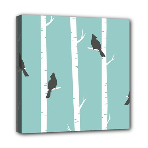 Birds Trees Birch Birch Trees Mini Canvas 8  X 8  by Amaryn4rt