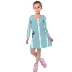 Birds Trees Birch Birch Trees Kids  Long Sleeve Velvet Dress
