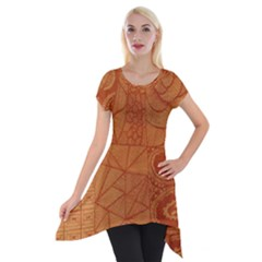 Burnt Amber Orange Brown Abstract Short Sleeve Side Drop Tunic by Amaryn4rt