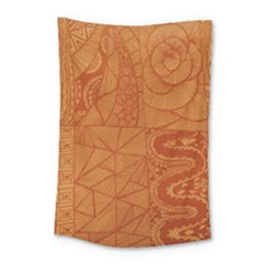 Burnt Amber Orange Brown Abstract Small Tapestry by Amaryn4rt