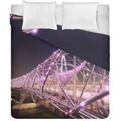 Helixbridge Bridge Lights Night Duvet Cover Double Side (california King Size) by Amaryn4rt