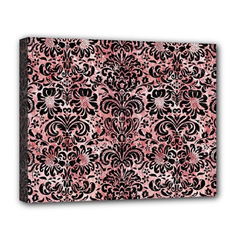 Damask2 Black Marble & Red & White Marble (r) Deluxe Canvas 20  X 16  (stretched) by trendistuff