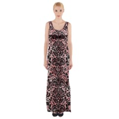 Damask2 Black Marble & Red & White Marble (r) Maxi Thigh Split Dress by trendistuff