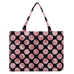 Circles2 Black Marble & Red & White Marble Medium Zipper Tote Bag by trendistuff