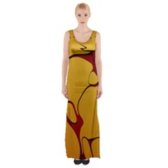Black Yellow Orange Maxi Thigh Split Dress by AnjaniArt