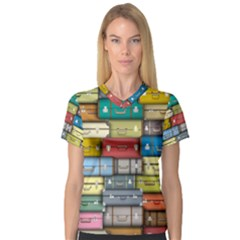 Colored Suitcases Women s V Neck Sport Mesh Tee by AnjaniArt
