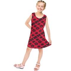 Diogonal Flower Red Kids  Tunic Dress