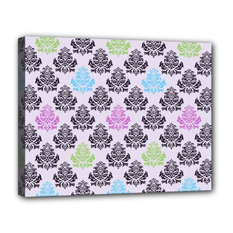 Damask Small Flower Purple Green Blue Black Floral Canvas 14  X 11  by AnjaniArt