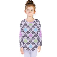 Damask Small Flower Purple Green Blue Black Floral Kids  Long Sleeve Tee by AnjaniArt