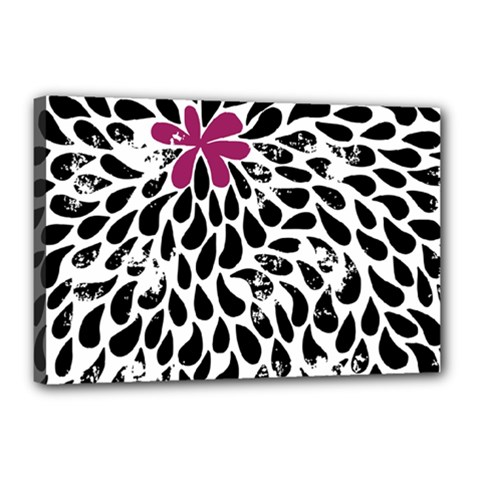 Flower Simple Pink Canvas 18  X 12  by AnjaniArt