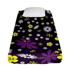 Floral Purple Flower Yellow Fitted Sheet (single Size) by AnjaniArt