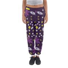 Floral Purple Flower Yellow Women s Jogger Sweatpants by AnjaniArt