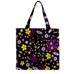 Floral Purple Flower Yellow Zipper Grocery Tote Bag by AnjaniArt