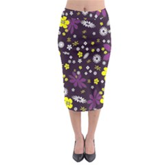 Floral Purple Flower Yellow Midi Pencil Skirt by AnjaniArt