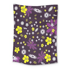 Floral Purple Flower Yellow Medium Tapestry by AnjaniArt