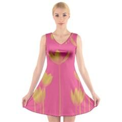 Flower Yellow Pink V Neck Sleeveless Skater Dress by AnjaniArt