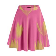 Flower Yellow Pink High Waist Skirt by AnjaniArt