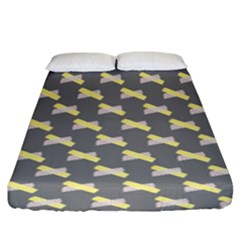 Hearts And Yellow Crossed Washi Tileable Gray Fitted Sheet (king Size)