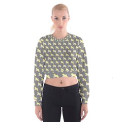 Hearts And Yellow Crossed Washi Tileable Gray Women s Cropped Sweatshirt by AnjaniArt