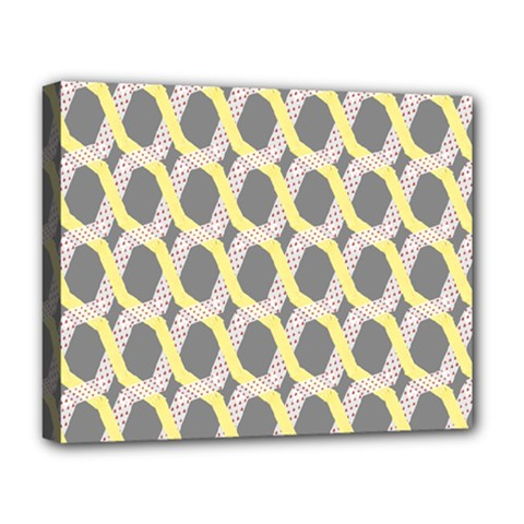 Hearts And Yellow Washi Zigzags Tileable Deluxe Canvas 20  X 16   by AnjaniArt