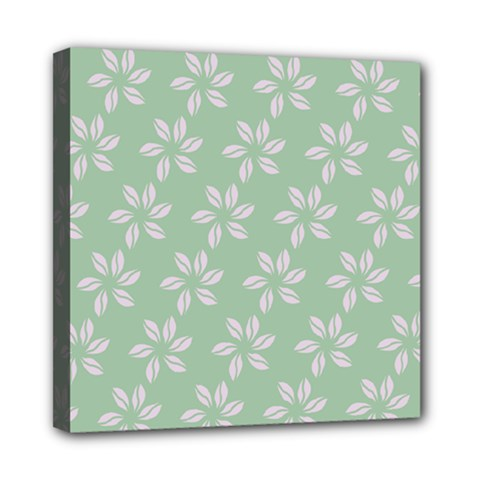 Pink Flowers On Light Green Mini Canvas 8  X 8  by AnjaniArt