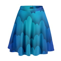 Blue Sky Jpeg High Waist Skirt by AnjaniArt
