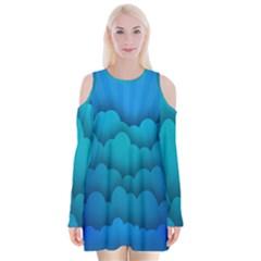Blue Sky Jpeg Velvet Long Sleeve Shoulder Cutout Dress