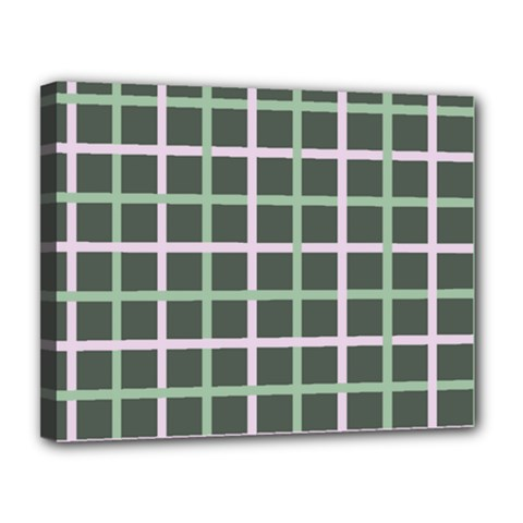 Pink And Green Tiles On Dark Green Canvas 14  X 11  by AnjaniArt
