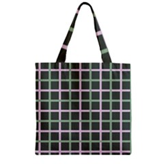 Pink And Green Tiles On Dark Green Zipper Grocery Tote Bag by AnjaniArt
