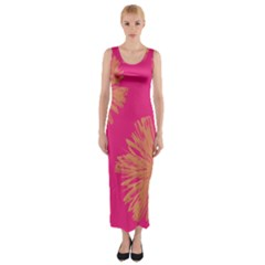Yellow Flowers On Pink Background Pink Fitted Maxi Dress by AnjaniArt