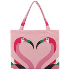 Bird Flamingo Illustration Love Mini Tote Bag by Jojostore