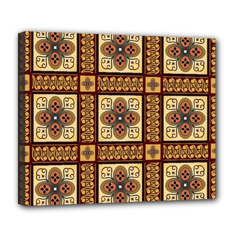 Batik Flower Brown Deluxe Canvas 24  X 20   by Jojostore