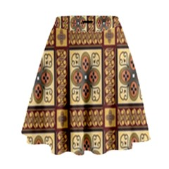 Batik Flower Brown High Waist Skirt by Jojostore