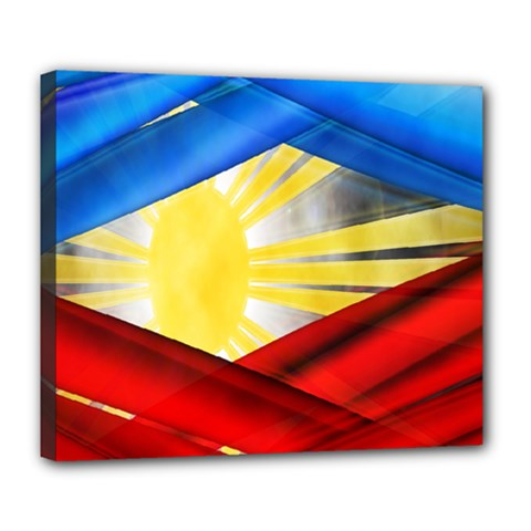 Blue Red Yellow Colors Deluxe Canvas 24  X 20   by Jojostore