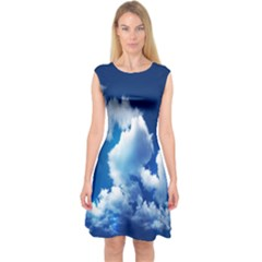 Blue Sky Clouds Capsleeve Midi Dress by Jojostore