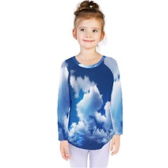 Blue Sky Clouds Kids  Long Sleeve Tee by Jojostore
