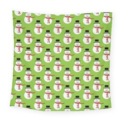 Christmas Snowman Wallpaper Square Tapestry (large)