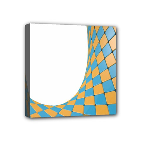 Curve Blue Yellow Mini Canvas 4  X 4  by Jojostore