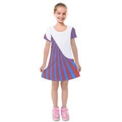 Curve Red Blue Kids  Short Sleeve Velvet Dress by Jojostore