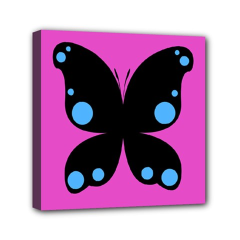 First Butterfly Pink Mini Canvas 6  X 6  by Jojostore
