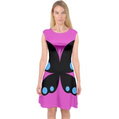 First Butterfly Pink Capsleeve Midi Dress
