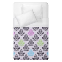Damask Small Flower Purple Green Blue Black Floral Duvet Cover (Single Size)
