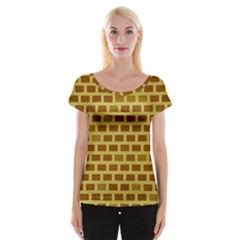 Tessellated Rectangles Lined Up As Bricks Women s Cap Sleeve Top by Jojostore
