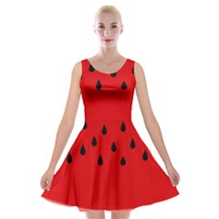 Watermelon  Velvet Skater Dress by Valentinaart