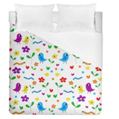 Cute Birds And Flowers Pattern Duvet Cover (queen Size) by Valentinaart