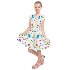 Cute birds and flowers pattern Kids  Short Sleeve Dress by Valentinaart