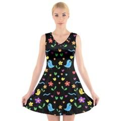 Cute Birds And Flowers Pattern   Black V Neck Sleeveless Skater Dress by Valentinaart