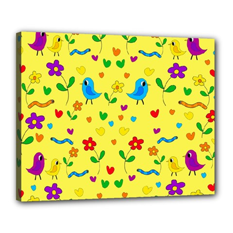 Yellow Cute Birds And Flowers Pattern Canvas 20  X 16  by Valentinaart