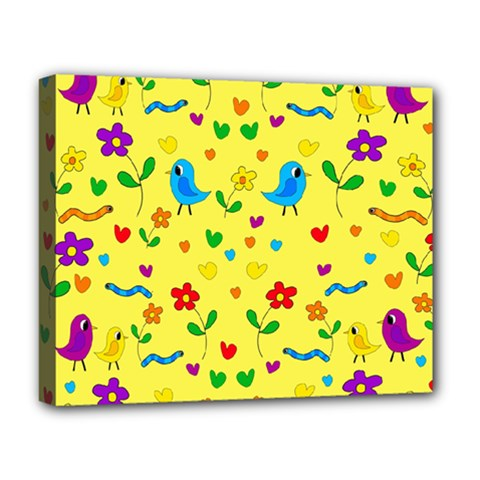 Yellow Cute Birds And Flowers Pattern Deluxe Canvas 20  X 16   by Valentinaart